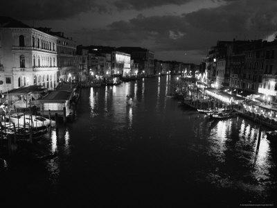 Black and White Photograph of Grand Canal From Rialto Bridge at Night