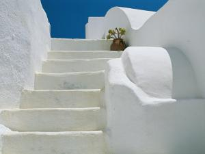 Bright White Stairs and Walls of One of Theras Cliff-Top Houses by Todd Gipstein
