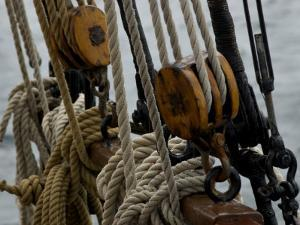 Close Up of Ropes and Pulleys of a Tall Ship by Todd Gipstein