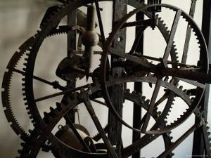 Close View of the Large Gears of an Old Clock, Venice, Italy by Todd Gipstein