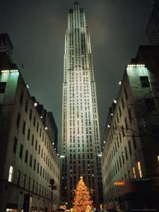 Night View of Rockefeller Center and Its Famed Christmas Tree by Todd Gipstein