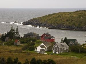 View of Homes and Rugged Coastline of Monhegan Island by Todd Gipstein