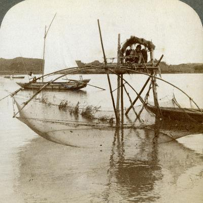 Toiler of the Sea, with His Curious Fishing Net, Bay of Matsushima, Japan, 1904-Underwood & Underwood-Photographic Print