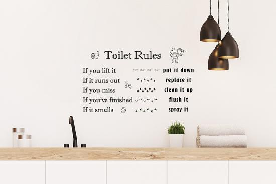 Toilet Rules English, Wall, Home decoration, DIY, Quotes Wall Decal by    Art com