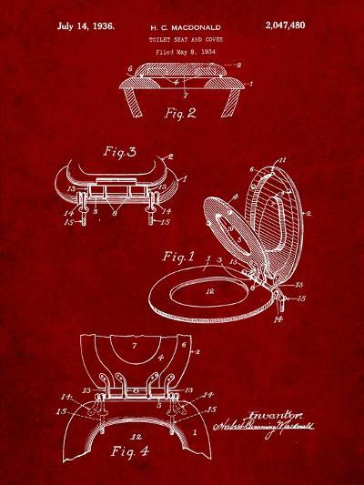 Toilet Seat Patent-Cole Borders-Art Print