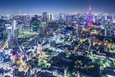 Tokyo, Japan City Skyline with Tokyo Tower and Tokyo Skytree in the Distance.-SeanPavonePhoto-Photographic Print