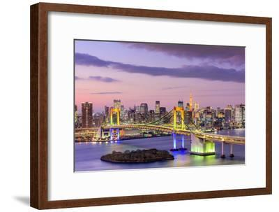 Tokyo, Japan Skyline with Rainbow Bridge and Tokyo Tower-Sean Pavone-Framed Photographic Print