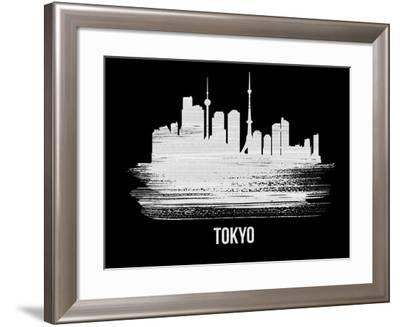 Tokyo Skyline Brush Stroke - White-NaxArt-Framed Art Print