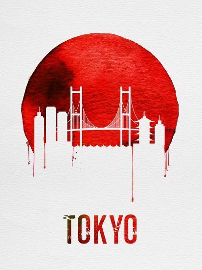 Tokyo Skyline Red--Art Print