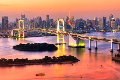 Tokyo Skyline with Tokyo Tower and Rainbow Bridge. Tokyo, Japan.-Luciano Mortula - LGM-Photographic Print
