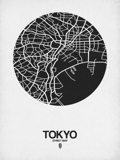 Tokyo Street Map Black on White-NaxArt-Art Print