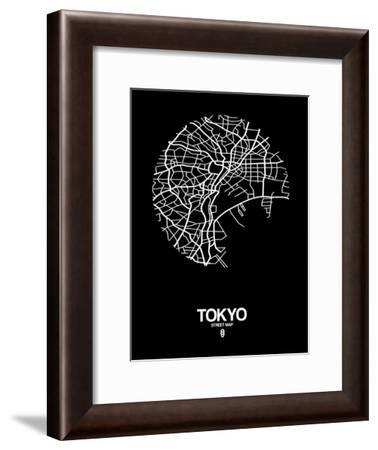 Tokyo Street Map Black-NaxArt-Framed Art Print