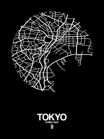 Tokyo Street Map Black-NaxArt-Art Print