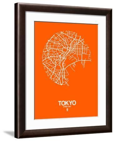 Tokyo Street Map Orange-NaxArt-Framed Art Print
