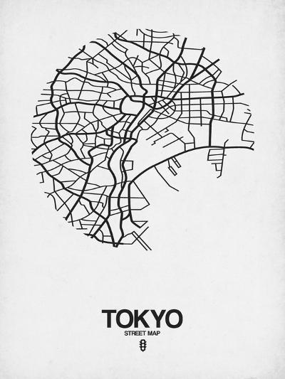 Tokyo Street Map White-NaxArt-Art Print