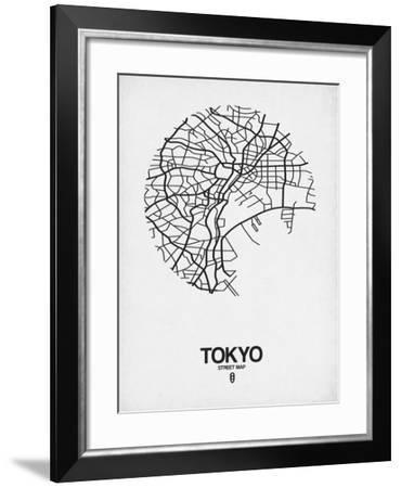 Tokyo Street Map White-NaxArt-Framed Art Print