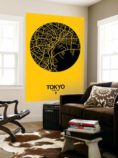 Tokyo Street Map Yellow-NaxArt-Wall Mural