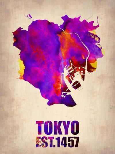 Tokyo Watercolor Map 2-NaxArt-Art Print