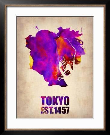 Tokyo Watercolor Map 2 Art Print Naxart Art Com