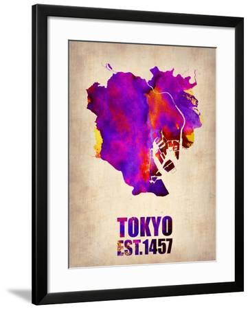 Tokyo Watercolor Map 2-NaxArt-Framed Art Print