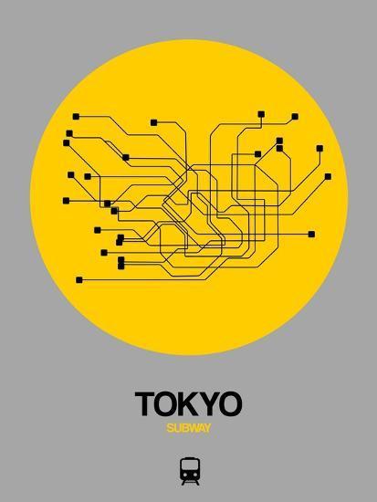 Tokyo Subway Map Framed.Tokyo Yellow Subway Map Art Print By Naxart Art Com