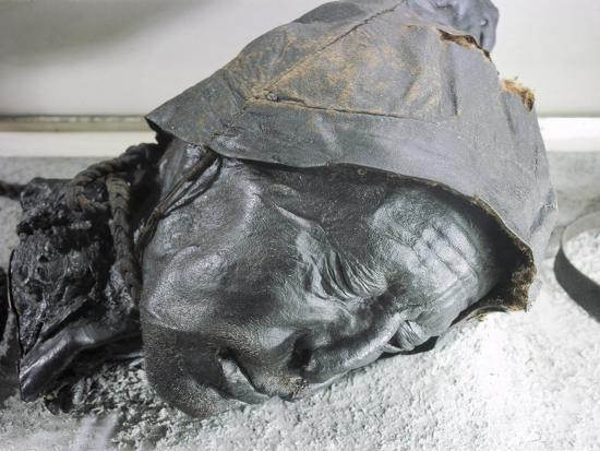 Tollund man, Iron Age victim of human sacrifice by ritual strangulation, Viking, Denmark-Werner Forman-Giclee Print