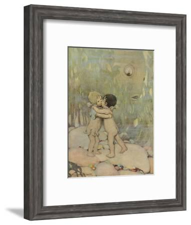 Tom and the Water Baby Hug and Kiss, Whilst a Startled Fish Looks On--Framed Giclee Print