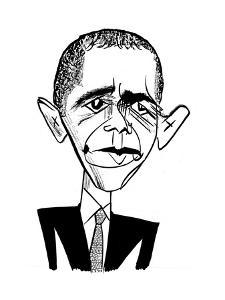 Barack Obama Suit & Tie - Cartoon by Tom Bachtell