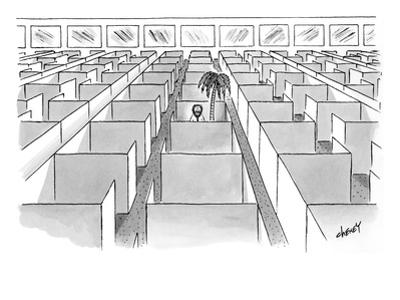 A man sits next to a palm tree in the only occupied cubicle in an office. - New Yorker Cartoon