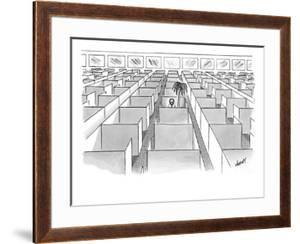A man sits next to a palm tree in the only occupied cubicle in an office. - New Yorker Cartoon by Tom Cheney