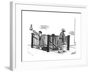 A man walks out of a subway station and grabs onto a freefloating subway s? - New Yorker Cartoon by Tom Cheney