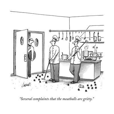A waiter speaks to two chefs in a kitchen who are playing golf with meatba - New Yorker Cartoon