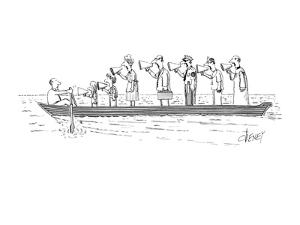 all standing in a line in the boat with him - New Yorker Cartoon by Tom Cheney