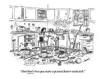 """A man in the pharmacy looks at shelf of drugs.  They come in: """"Regular Str? - New Yorker Cartoon-Tom Cheney-Premium Giclee Print"""