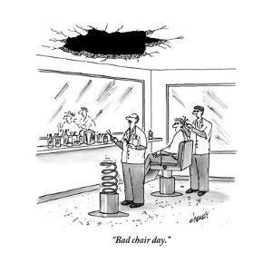 """""""Bad chair day."""" - New Yorker Cartoon by Tom Cheney"""