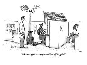 """Did management say you could go off the grid?"" - New Yorker Cartoon by Tom Cheney"