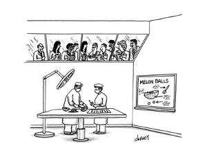 Doctors in operating theater make melon balls, as students observe. - New Yorker Cartoon by Tom Cheney