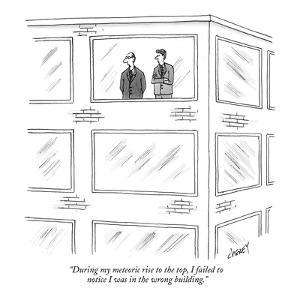 """""""During my meteoric rise to the top, I failed to notice I was in the wrong?"""" - New Yorker Cartoon by Tom Cheney"""