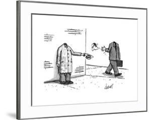 Headless pan-handler is thrown a head from busiessman. - New Yorker Cartoon by Tom Cheney