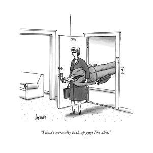 """I don't normally pick up guys like this."" - New Yorker Cartoon by Tom Cheney"