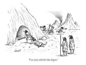 """I see jury selection has begun."" - New Yorker Cartoon by Tom Cheney"