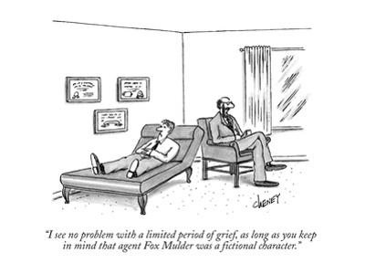 """""""I see no problem with a limited period of grief, as long as you keep in m?"""" - New Yorker Cartoon by Tom Cheney"""