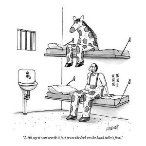 """I still say it was worth it just to see the look on the bank teller's fac - New Yorker Cartoon by Tom Cheney"