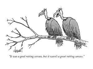 """It was a good rotting carcass, but it wasn't a great rotting carcass."" - New Yorker Cartoon by Tom Cheney"