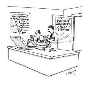 "Lab with title ""Bureau Of Unidentified Pizza Toppings"". - New Yorker Cartoon by Tom Cheney"