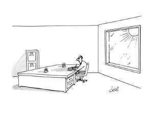 Man acting as sun dial at his desk. - New Yorker Cartoon by Tom Cheney