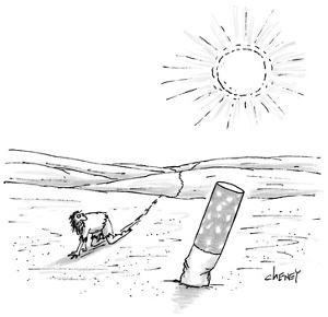 Man crawling through desert finds a giant cigarette butt in the sand. - New Yorker Cartoon by Tom Cheney