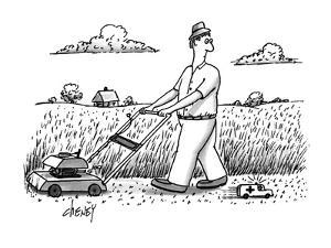 Man mowing lawn sees tiny ambulance rush by. - New Yorker Cartoon by Tom Cheney