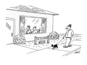 "Man walking by house sees sign ""The Collingtons-rated PG"". - New Yorker Cartoon by Tom Cheney"