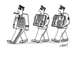 Men walking after general with this extra medals. - New Yorker Cartoon by Tom Cheney